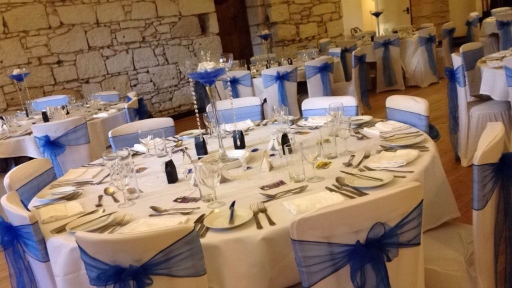 Venue decoration, table centrepieces, chair covers and sashes, wedding, hire,