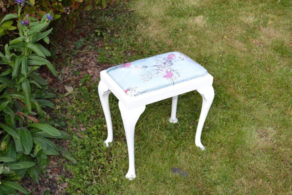 vintage dressing table stool. Upcycled.