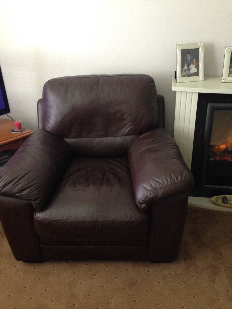 Dark brown leather 2 seater with 2 matching chairs