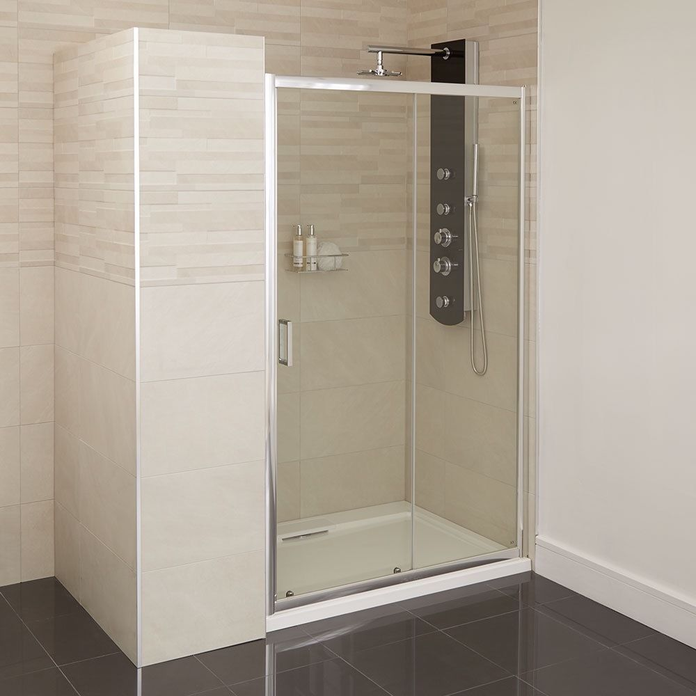 Bathroom Chrome Sliding Shower Door