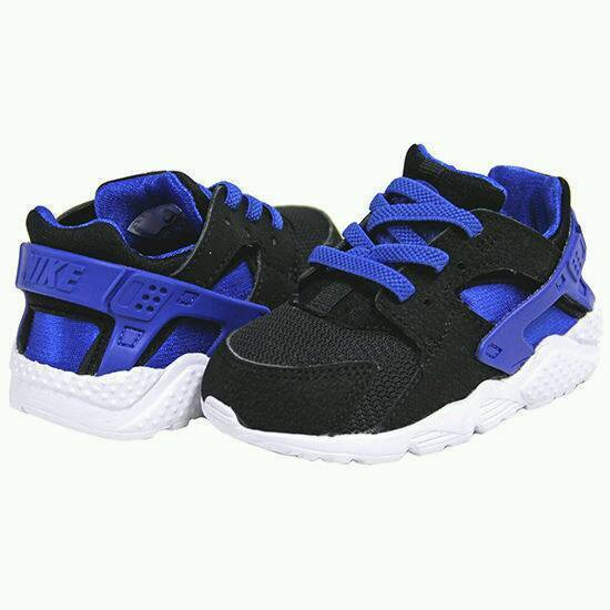 Nike Air Huarache Run TD Trainers Toddlers infant/Baby Black/Blue Shoes