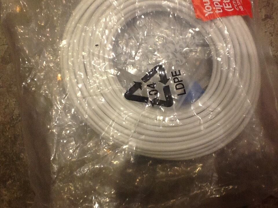 15m plus. Blue tipped Ethernet cable with clips Brand New
