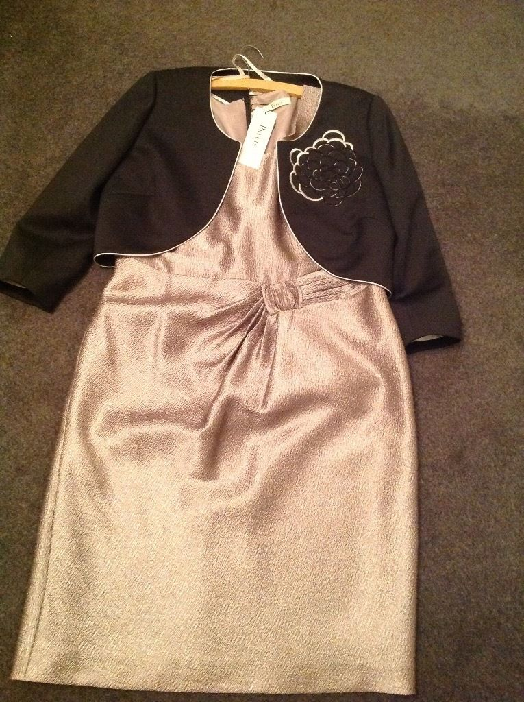 Précis Lovely bronze dress and black jacket for wedding. size 14 never worn and still with labels