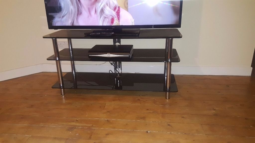 Black glass tv unit only
