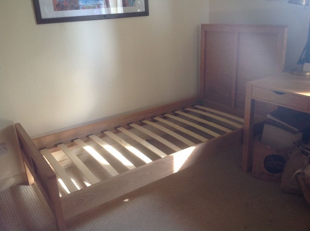 Oak single bed by Feather and Black
