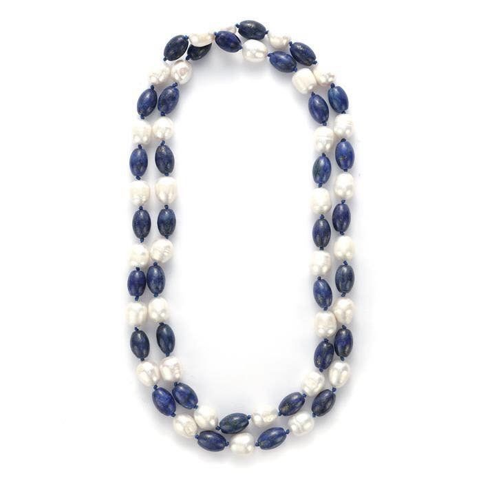313 carat Lapis Lazuli & Cultured Pearl Necklace 35""