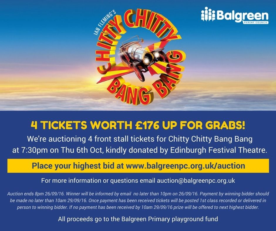 4 x Chitty Chitty Bang Bang Tickets - Auction