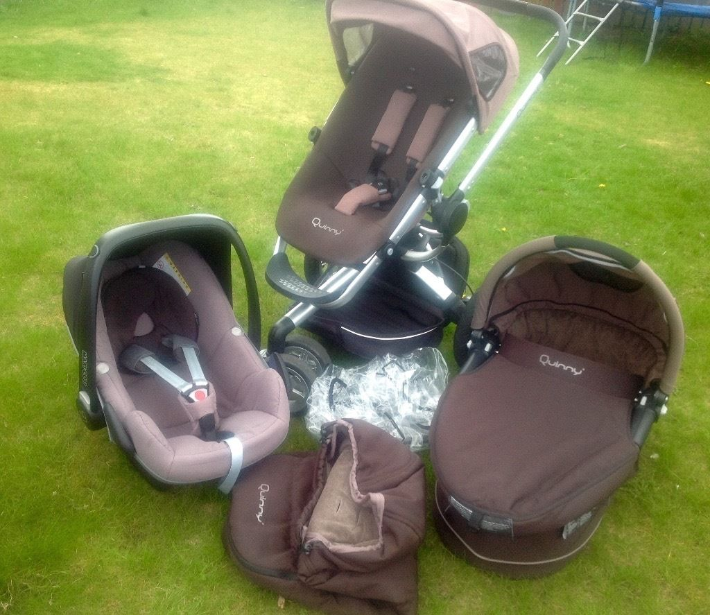 Unisex brown/beige Quinny buzz travel system 3in1 Carrycot Stroller Maxi Cosi car seat Accessories