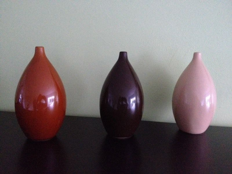 3x Ceramic Decorative Small Vases