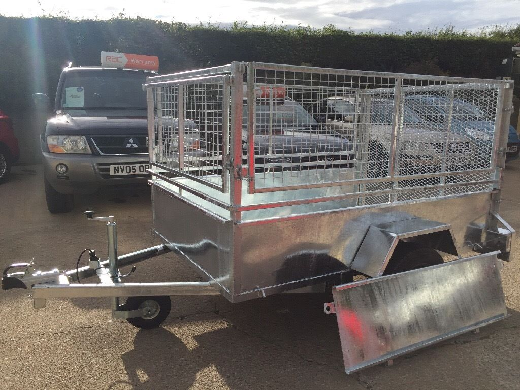Car Trailer 6.5ft x 4.5ft Fully Galvanised Long & Standard Tail Doors Lift Off Mesh Sides & Front