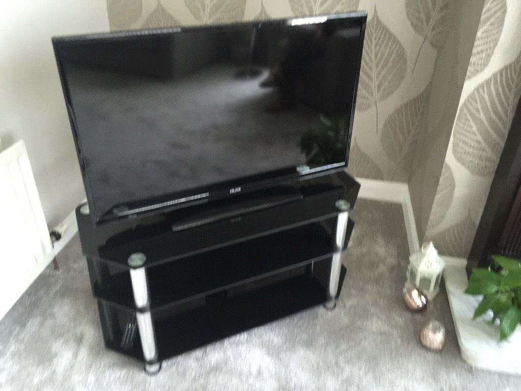 As New Black Glass TV Stand