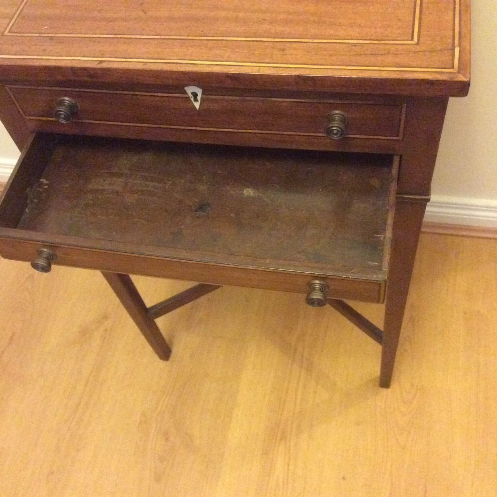 Antique inlaid sewing table
