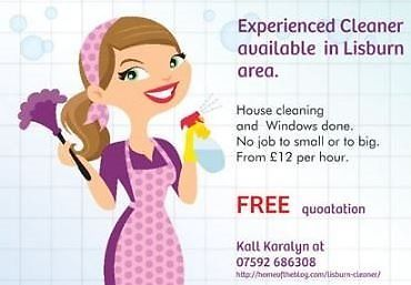House and Office Cleaner Lisburn Area. High standard of cleaning.