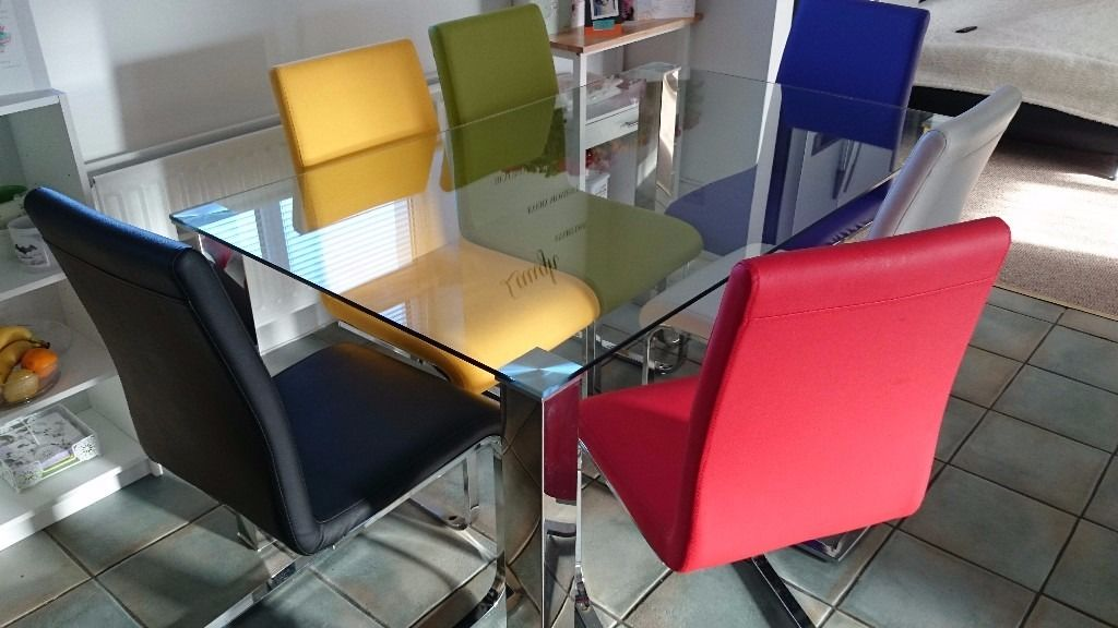DINNING TABLE+6 COLOURFUL CHAIRS