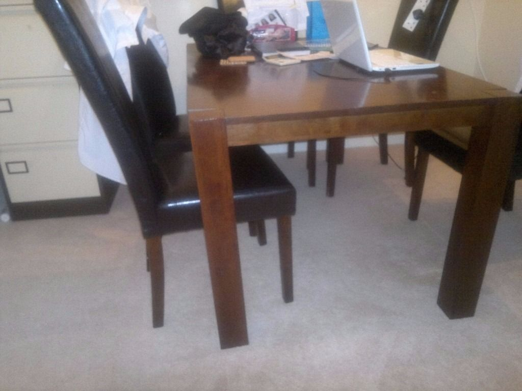 Free for collection Dark brown Wooden Dining table & 6 leather effect chairs