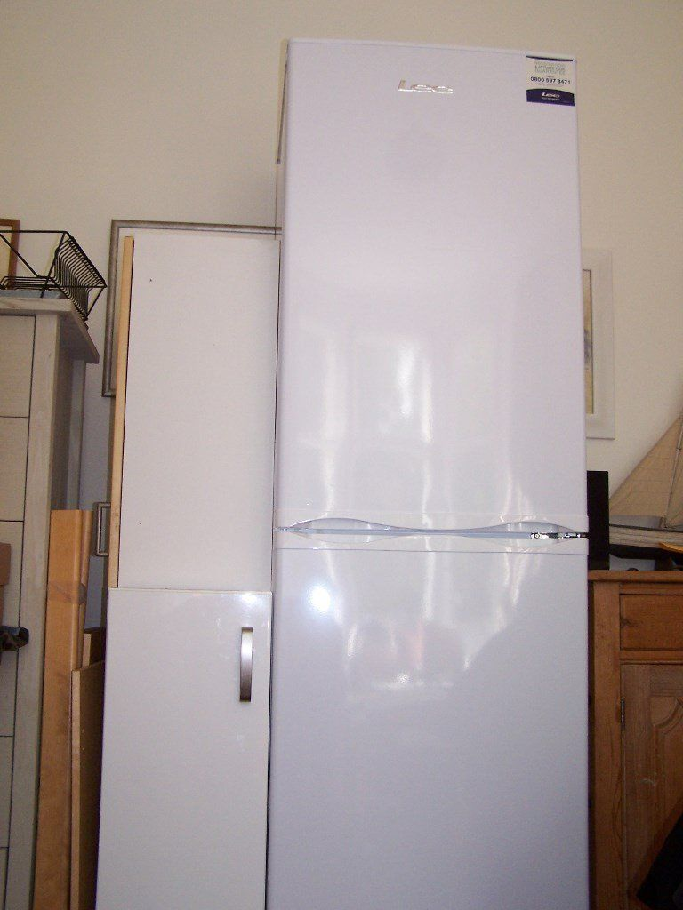 LEC Fridge Freezer, model TF60203W, colour white, unpackaged but otherwise new and unused