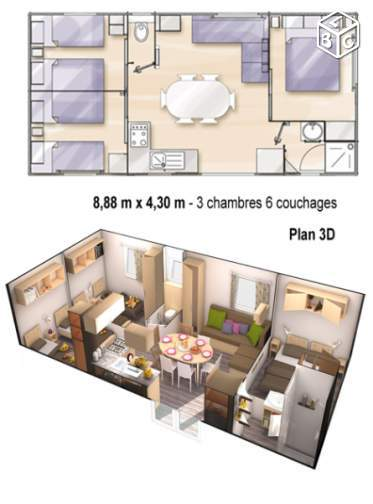 Mobil home 6/8 pers