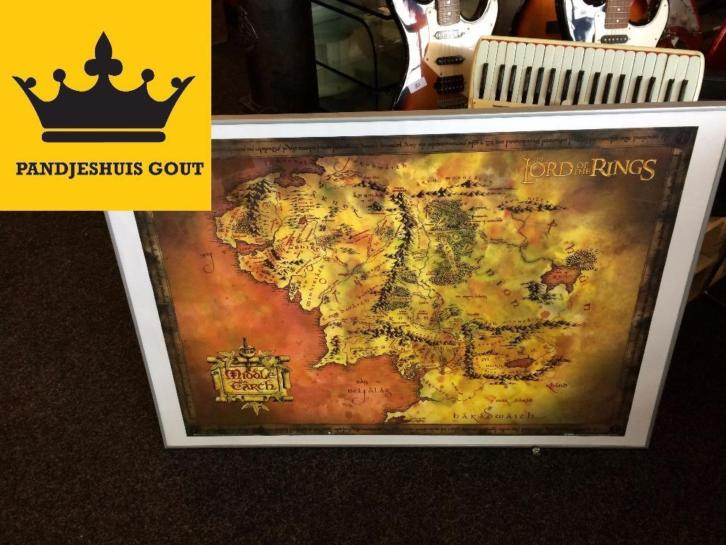 Lord of the Rings Plattegrond Poster Ingelijst 100x70cm GOUT