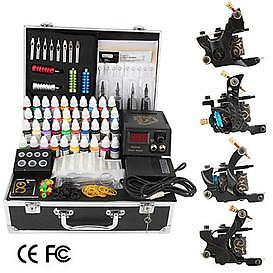 Tattoo kit met 4 machines 52 stuk inkt complete set Gratis v