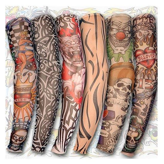 Tattoo Arm Leg Sleeves Sun Protection Cycling Halloween P...
