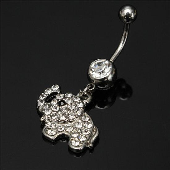 Crystal Elephant Belly Button Rings Dangle Navel Bar Body...