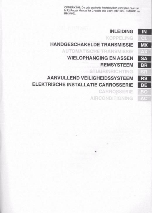 1996 Toyota MR2 Chassis Carosserie Reparatieboek Supplement
