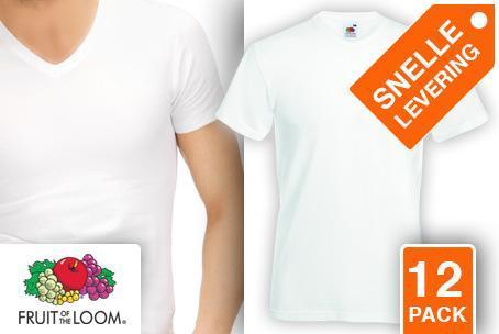 12 witte T-shirts met V-hals van Fruit of the Loom