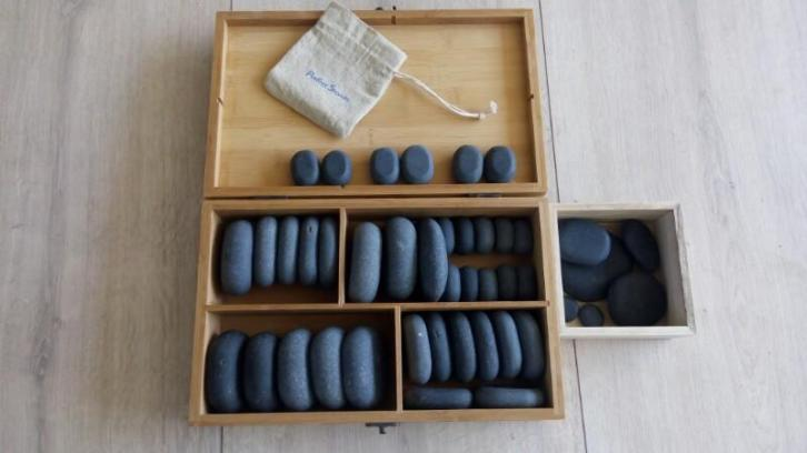 hot stone massage set 43 basalt stenen