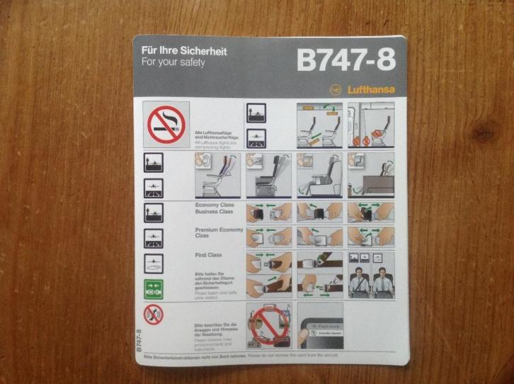 Safety card Lufthansa B 747-8