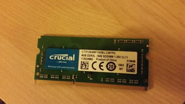 4gb DDR3 1600 mhz CL11 Laptop geheuge