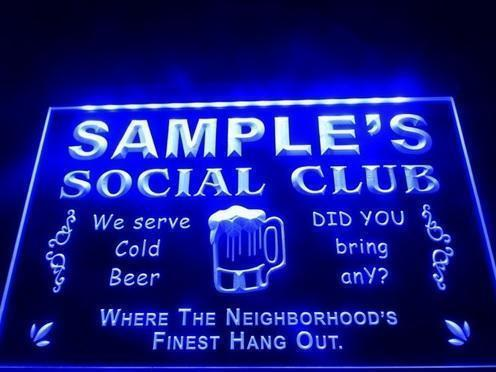 Social Club Neon 3D LED Lamp Verlichting Plaat Bord Display