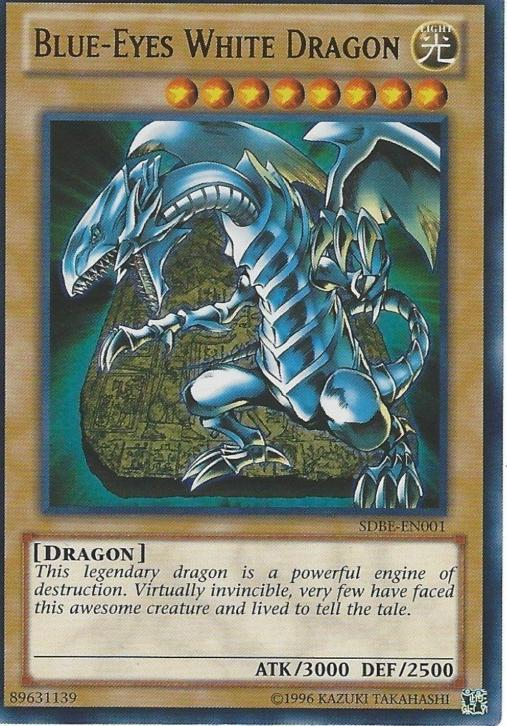 Blue-eyes white dragon foil yu gi oh kaart kaarten blue eyes