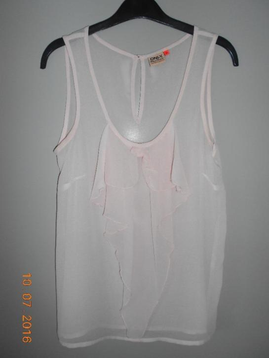 Only zacht roze transparante top, maat 36