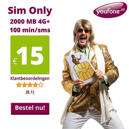 TOPDEAL Youfone Sim Only 2000 MB 4G + 100 min/sms nu €15,-