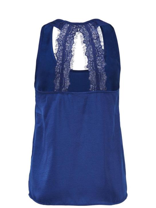 Only Vibse SL Lace Woven Top Blue Dames Top Maat 38