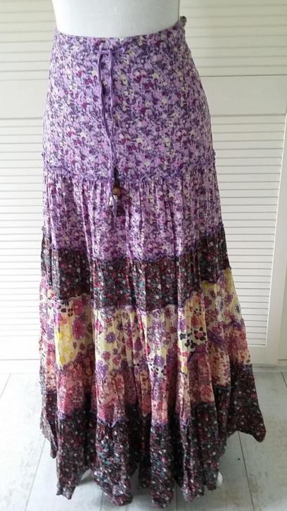 EDC M 38/40 Ibiza Gipsy Style LANGE ROK in paars-lila-geel