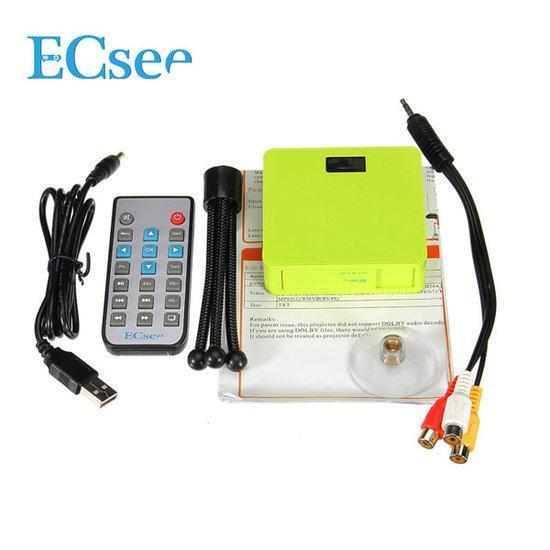 ECsee ES130 Mini DLP Projector HDMI White Green Portable ...