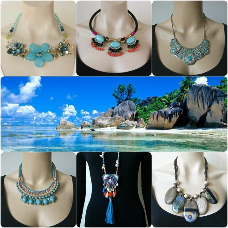 Grote Statement Ketting - Blauw / Turquoise