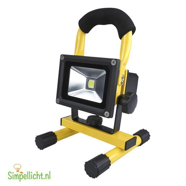 Accu LED BOUWLAMP 10 Watt Accu LED floodlight 10 watt