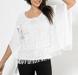 Sale! Witte poncho blouse Ibiza summer maat 34 36 38