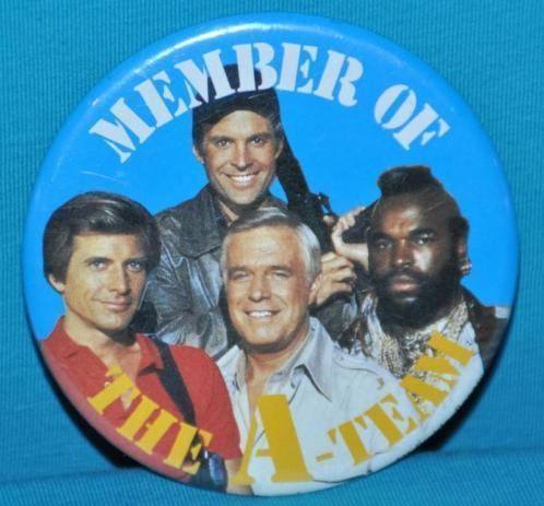 Vintage/retro Member of the A-team button 7,5 cm 1984