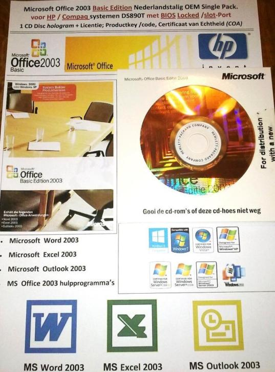 Microsoft Office 2003 Basic Ed. HP DC5700 SFF DC7700 DC7600