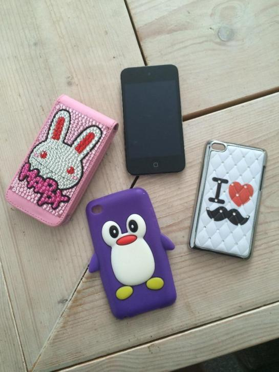 Ipod 4 touch(16gb) + 3 hoesjes