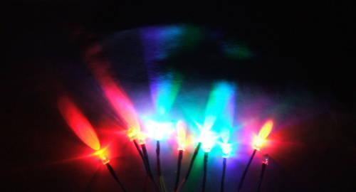 2 Mini RAINBOW FLASH LED's (12 Volt)
