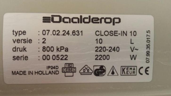 Daalderop Close in Boiler 10 liter (incl. inlaatcombinatie)