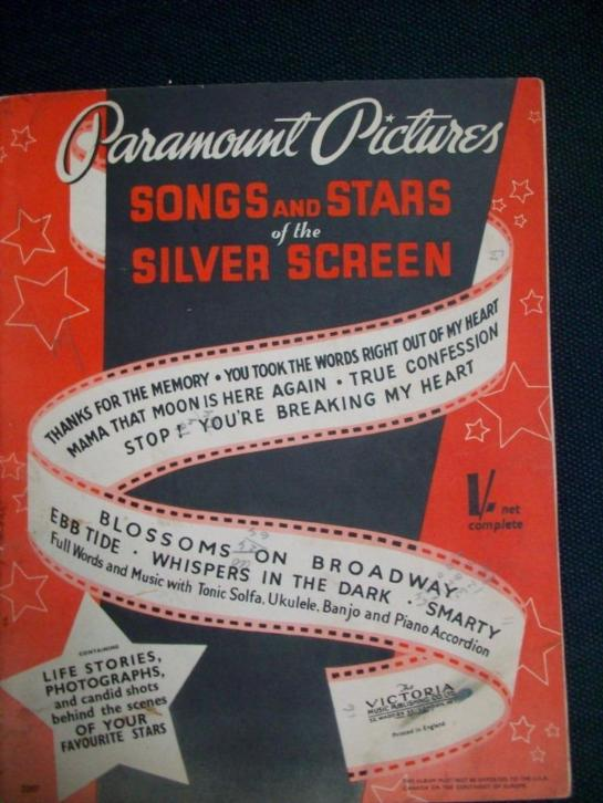 Song and stars of the silver screen /piano/tekst bladmuziek