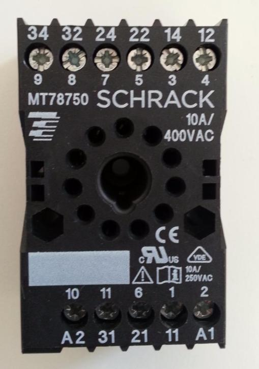 10 x Connector relay socket part MR78750 Schrack 10A - 400V