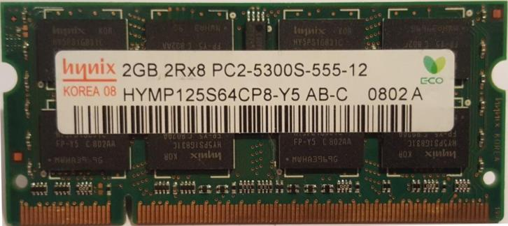 Hynix laptop geheugen 2GB DDR2 667/800MHZ