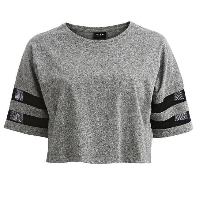 Vila Hoeland Cropped Top ediu Grey Dames Top Maat M