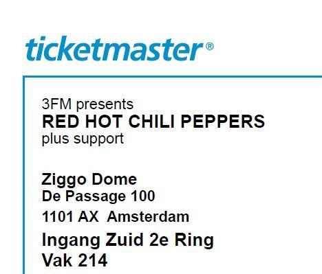 Concert ticket RHCP Red Hot Chili Peppers 8 nov zitplaats